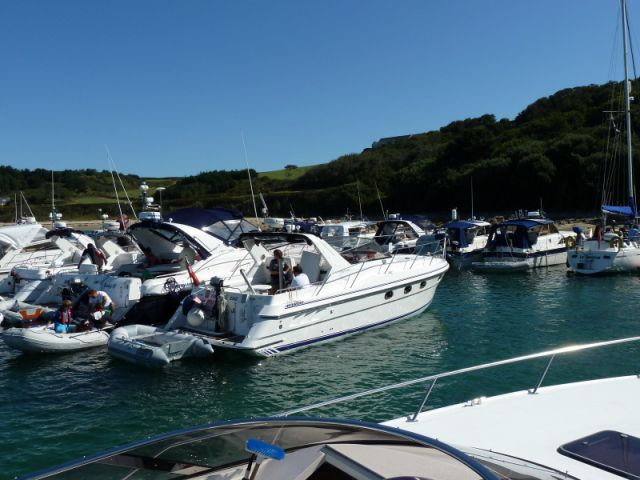 A busy weekend with 2 lines of boats moored, waiting to dry out at half tide